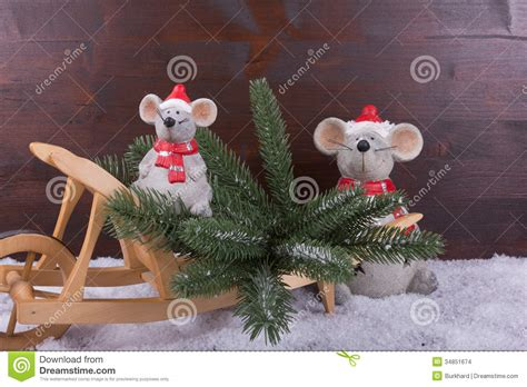 mice  christmas tree  wooden wheelbarrow stock images image