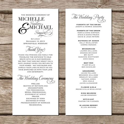 simple wedding program template simple wedding program modern trendy by