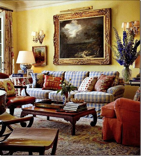 blue buffalo check sofa really really this room warm yellow walls blue