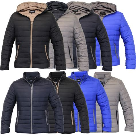 padded jacket mens padded jacket coat quilted hooded funnel neck zip