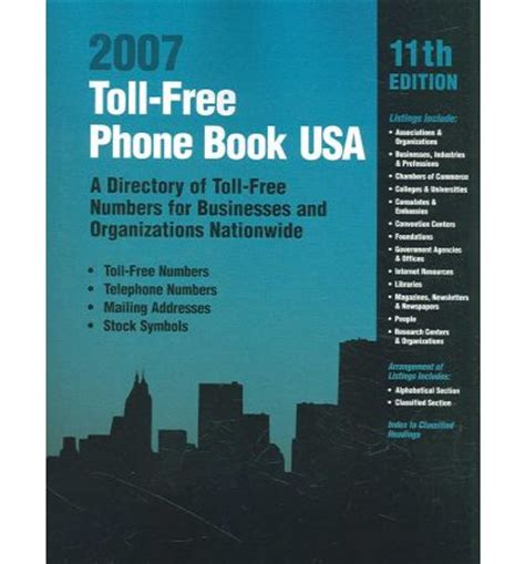 Free Phone Number Lookup Usa Toll Free Phone Book Usa 2007 Omingraphics 9780780809307