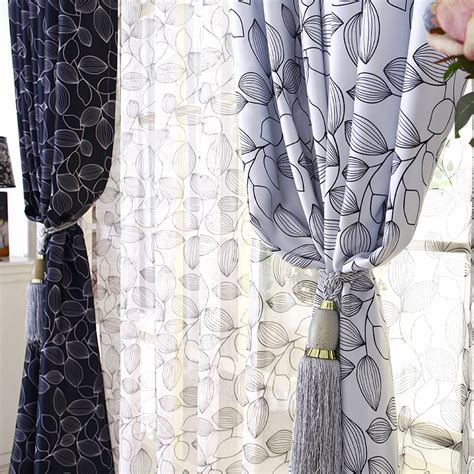 Black And White Blackout Curtains High Density 100 Shading Window Curtain Black And White Leaf Pattern Thick Blackout
