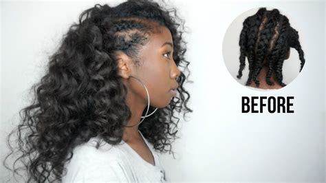 knappyhair extentsions hairstyles side cornrows hairstyle with clip ins no heat minimal