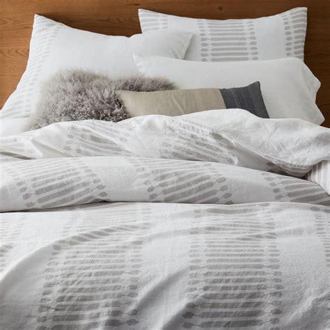 belgian linen bedding belgian flax linen ikat stripe duvet cover pillowcases west elm uk