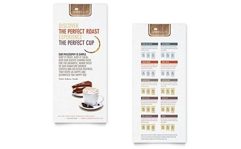 free rack card template schedule coffee shop brochure template design