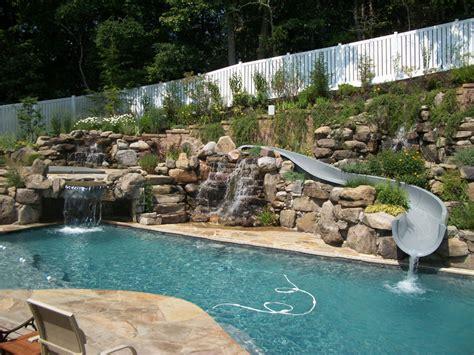 Backyard Pools La Times Blue Pools Rock Waterfall Slide Pools