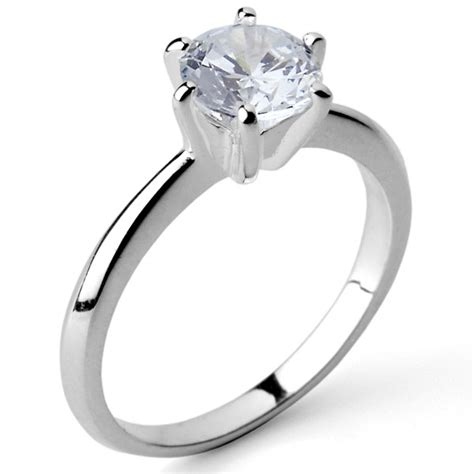 925 sterling silver 7mm 1 25ct cz solitaire engagement ring