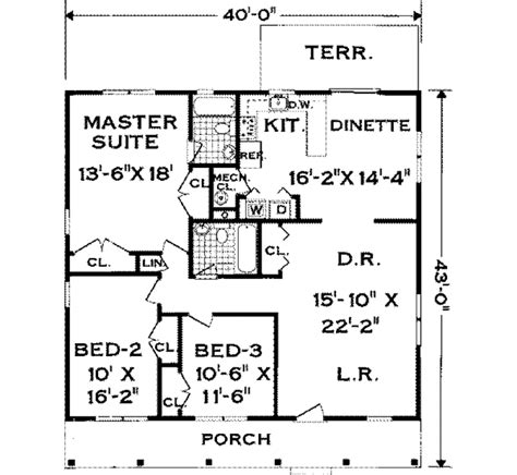 house plans 1500 square country house plan 3 bedrooms 2 bath 1500 sq ft plan 43 114