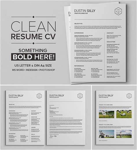 clean and simple editable resume set free download