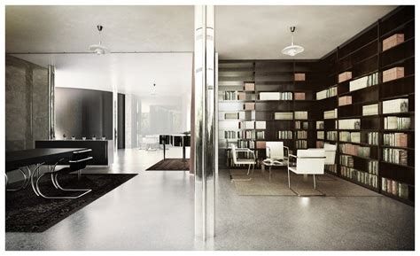 bibliotheque interiors tugendhat house interior by lasse rode xoio 3d architectural visualization rendering
