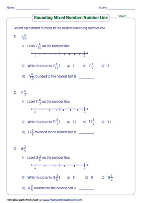 Rounding Fractions To The Nearest Half Worksheets rounding fractions worksheets
