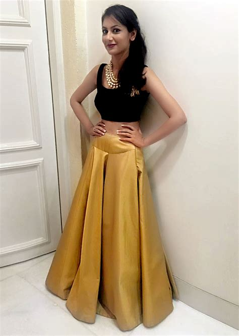 sriti jha in kalki beige lehenga with cape and crop top
