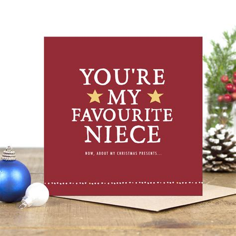 youre  favourite niece christmas card  zoe brennan notonthehighstreetcom