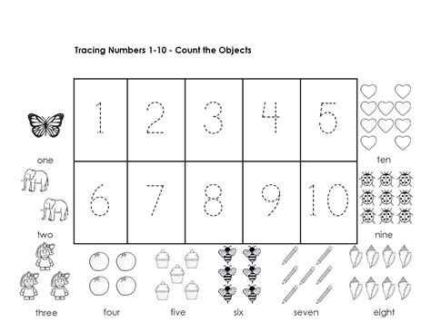 Tracing Numbers 1 10 Worksheets Kindergarten by Number Tracing Worksheets For Kindergarten 1 10 Ten