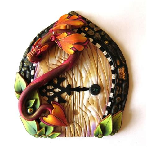 polymer clay home decor dragon fairy door pixie portal polymer clay home and