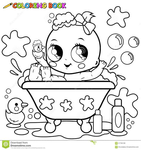 Toddler Bath Tub For Shower baby girl taking a bath coloring page stock vector image