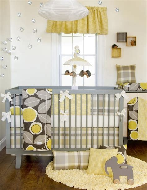 Sunflower Crib Bedding Soft Plaids Give A Preppy Feel I The Bright Sunflowers Modern Baby Nursery