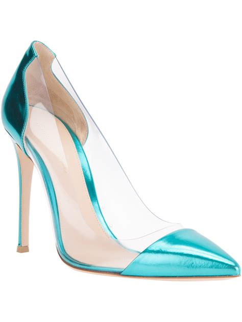 Color Panel High Heel Pumps gianvito transparent panel pumps in blue lyst