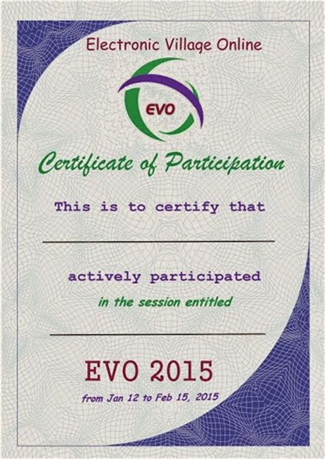 certificate of participation template pdf evo certificates of participation