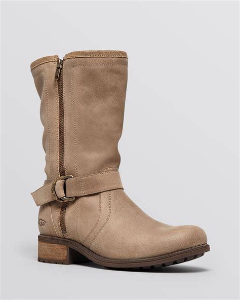 ugg ugg 174 australia flat boots silva buckle in brown lyst