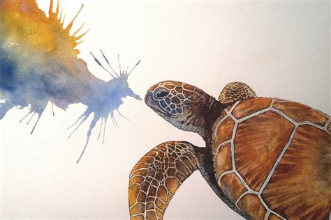 speed painting watercolour sea turtle