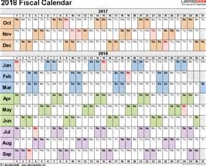 Fiscal Year 2018 Calendar Fiscal Calendars 2018 As Free Printable Word Templates