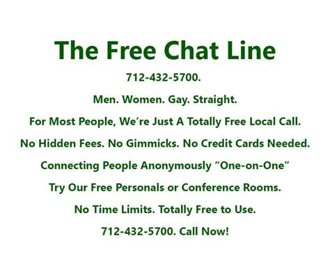 Free dating chat line numbers