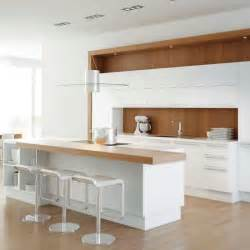 White And Wood Kitchen White Kitchen With Warming Wood Splashback White