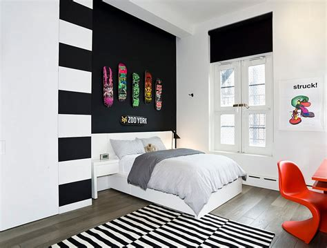 modern guys bedroom bold black and white bedrooms with bright pops of color