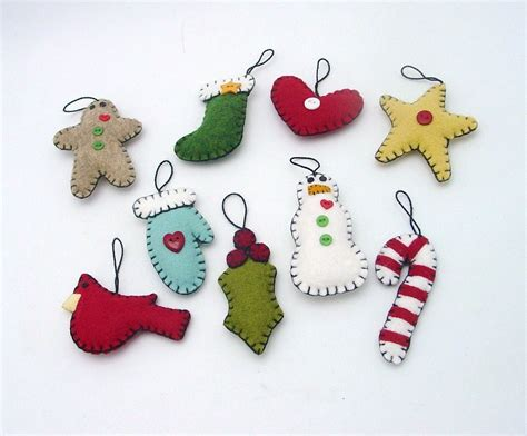 hand sewn penny rug style christmas ornaments