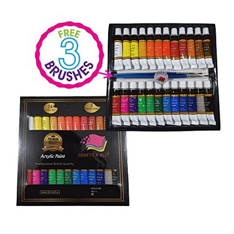 acrylic paint 24 set by crafts 4 all for canvas wood ceramic fabric crafts non toxic
