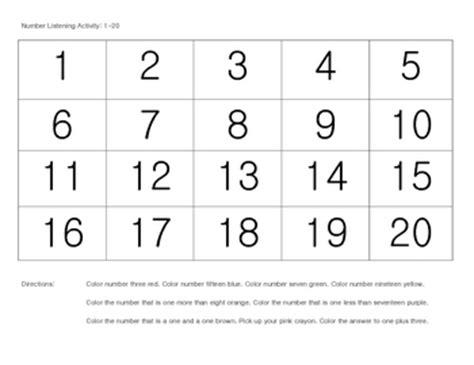 printable 1 20 number grid listening activity free numbers 1 20 for preschool