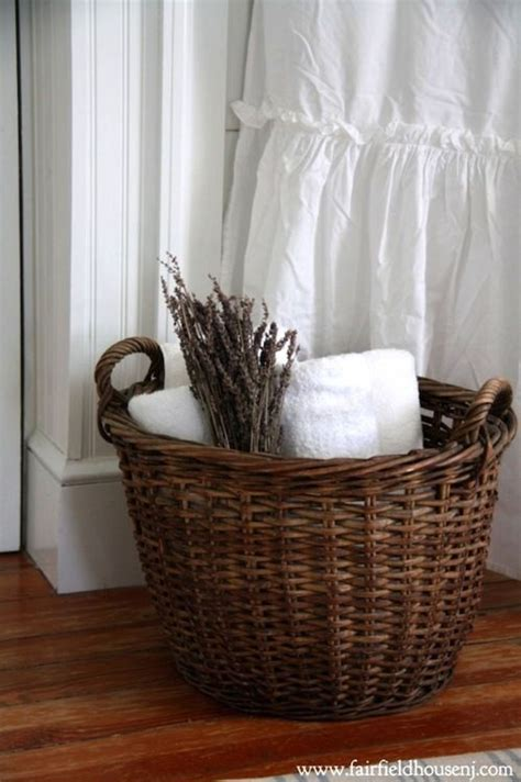 vintage wicker basket backed by crispest white towels