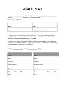 vehicle bill of sale freewordtemplates