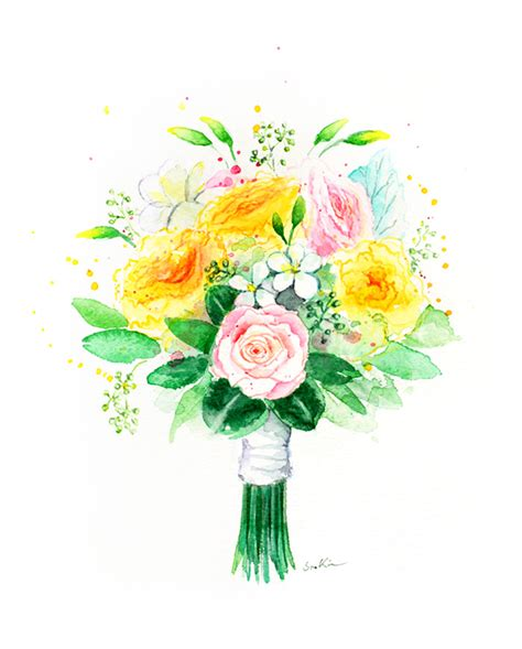 Wedding Bouquet Painting by Soo Artist Painter Illustrator Custom Wedding