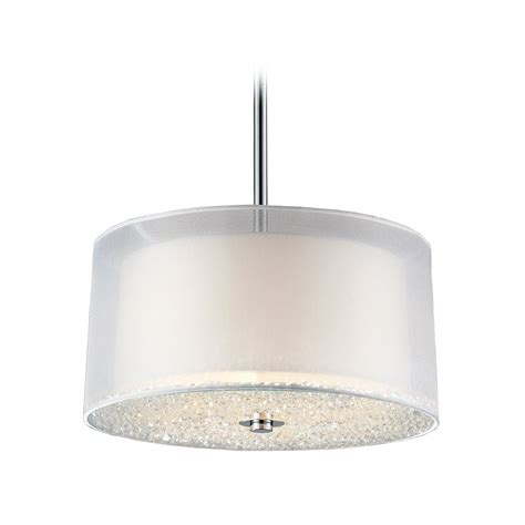 White Pendant Drum Light Modern Drum Pendant Light With White Shades In Polished Chrome Finish 10303 3 Destination