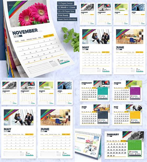 Calendar 2018 Template Design 2018 Calendar Design Template Wall And Desk Free