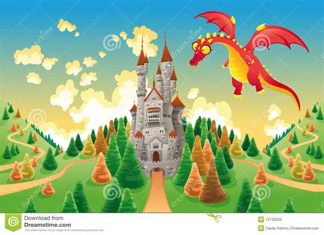 Disney Castle Wall Sticker panorama with medieval castle and dragon stock vector