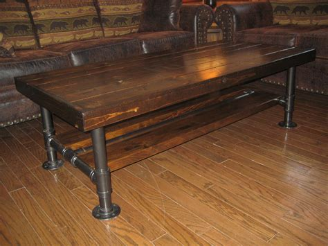 pipe leg coffee table distressed rustic knotty pine coffee table with steel