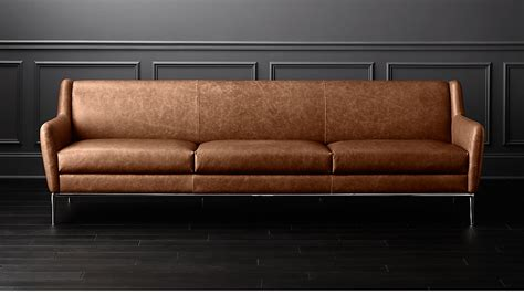 alfred large cognac leather sofa reviews cb2