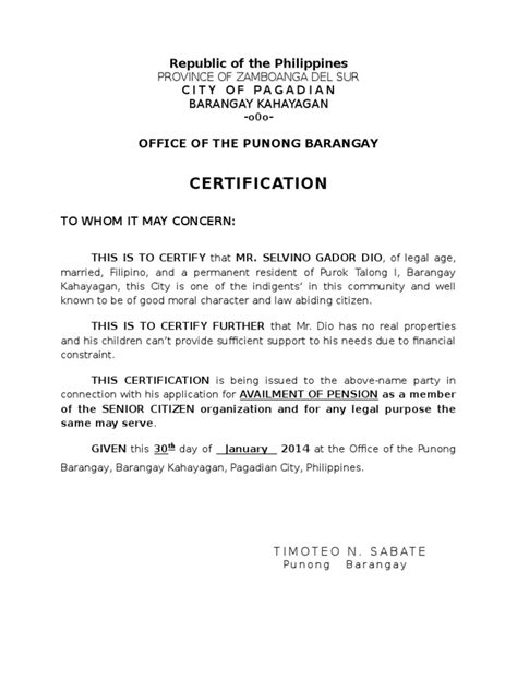 barangay certification letter barangay certificate docshare tips