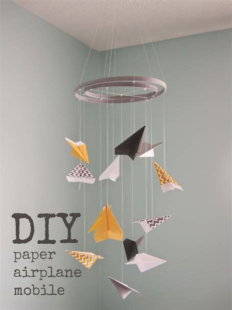 Make A Paper Mobile - knee in the baby pool diy paper airplane mobile