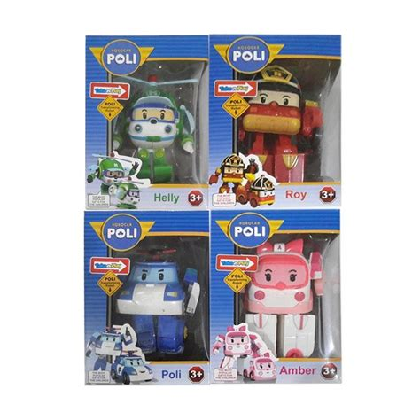 Figure Robocar Poli Set Isi 4 Pcs Poli Roi Helli jual cl kiddos robocar poli roy heli dan robot car set figure 4 pcs