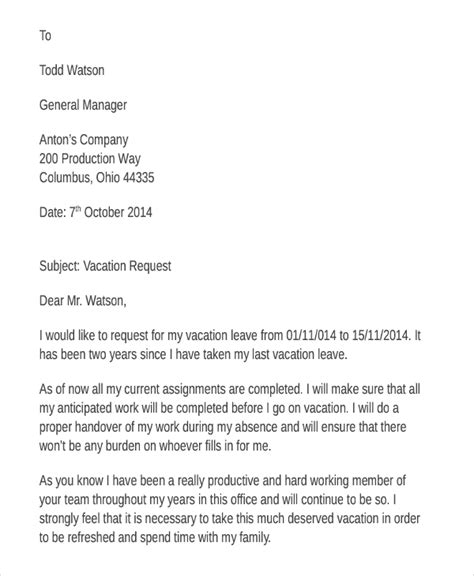 sle of vacation request letter vacation leave request letter sle docoments ojazlink