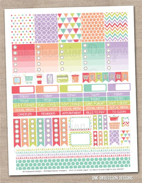 monthly planner stickers printable ink obsession designs new weekly printable planner stickers