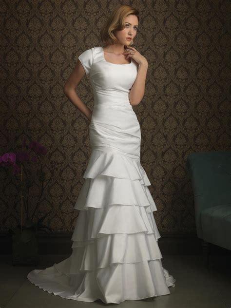 modest mermaid wedding dresses layers mermaid trumpet modest wedding dress with sleeves
