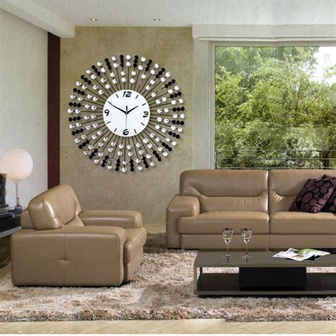 Living Room Clocks by 24 Inches Modern Luxury Iron Wall Clock Diamond Creative