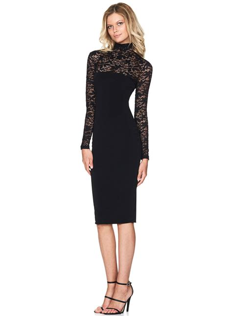 Mock Neck Sleeve Dress mock neck sleeve lace bodycon dress oasap