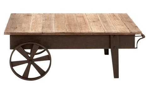 Rustic Coffee Table With Wheels Picture Of Wooden Coffee Table With Decorative Wheels And Metal Base Decofurnish