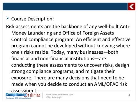 Mba Concentration Anti Money Laundering by Complianceonline Ppt Format Amlofac Risk Assessment The